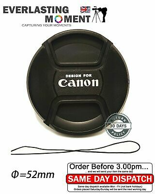 Canon 52mm Centre Pinch Snap on Front Lens Cap for Lenses with 52mm Thread