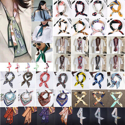 Women Satin Silk Twilly Scarf Handbag Handle Wrap Neck Hair Tie Ribbon Scarves