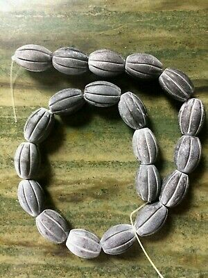 """frosted matte black onyx hand carved oval beads 16"""" strand"""