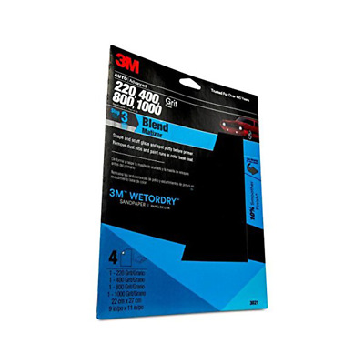 3M™ Wetordry™ Sandpaper, 03021, Assorted Grit, 9 inch x 11 inch