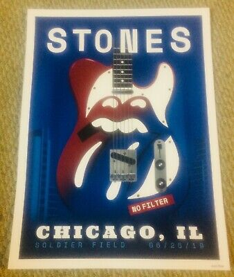Rolling Stones Chicago Night 2 Litho Poster #225/500 6/25/19 Soldier Field Rare