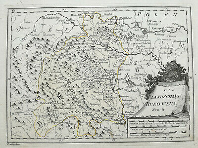 Reilly Original Engraved Folio Map Bukovina Romania Ukraine - 1789