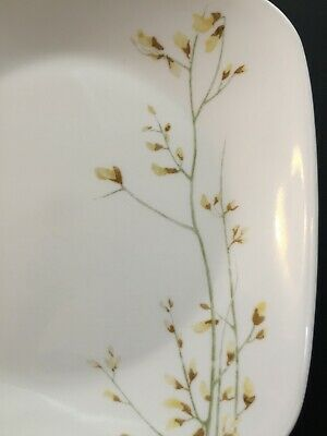 """Quantity of 2 Corelle KOBE Floral yellow square 9"""" luncheon plates"""