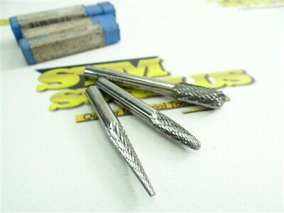 New! Lot Of 3 Assorted Sgs Double Cut Burrs Sm-3 Sf-1 & Sd-2