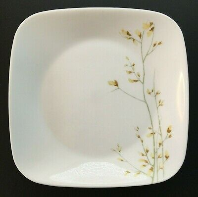 """Quantity of 4 Corelle KOBE Floral yellow square 10 1/2"""" dinner plates"""