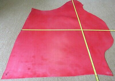 11 SQ FT WAXY RED BRIDLE FINISH LEATHER 2 - 2.2mm THICK - BAG - CRAFT