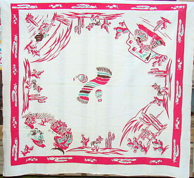 """Vintage Tablecloth WHITE/RED/AQUA """"South of the Border"""" Theme 44"""" x 48"""""""