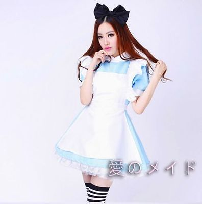 Alice in Wonderland Costume Lolita Blue Dress For Halloween Party Adult Cosplay
