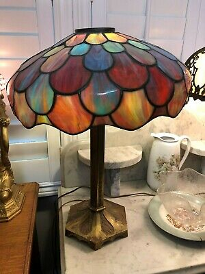 Antique Scalloped Colorful Leaded Glass Table Lamp on Art Deco Base