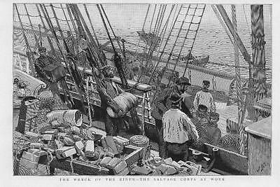 1892 Antique Print - SHIP WRECK The Eider Salvage Corps Isle of Wight  (37)