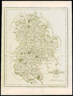 1793 Original Antique MAP of 'BEDFORDSHIRE' by John Cary Outline Colour (02)