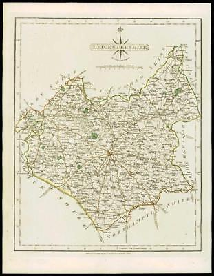 1793 Original Antique MAP of 'LEICESTERSHIRE' by John Cary Outline Colour (23)
