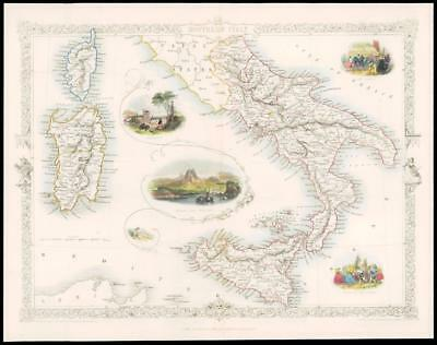 """1850 COLOURED Antique Map """"SOUTHERN ITALY"""" Sicily Sardinia by TALLIS (129d)"""