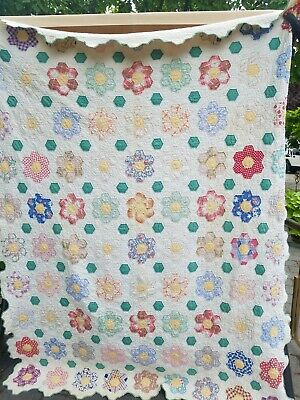 """Antique 1920's-30's Quilt Grandmother's Flower Garden Sewn By Hand 64"""" x 82"""""""