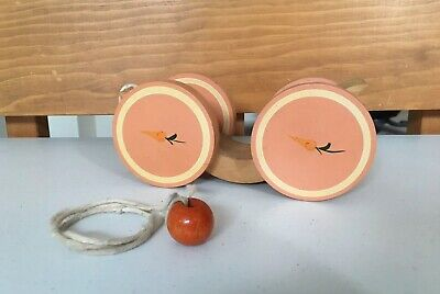 Vintage BRIERE Folk Art Wooden Pull Toy 1986 Bunny Carrot Pull Cart, #576