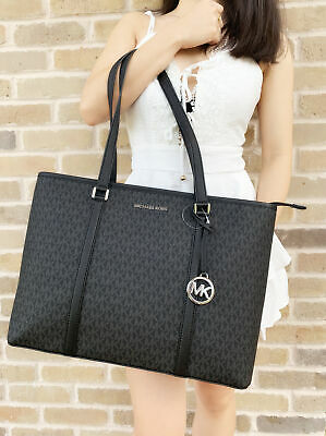 MICHAEL KORS SADY Large Multifunctional Top Zip tote Black