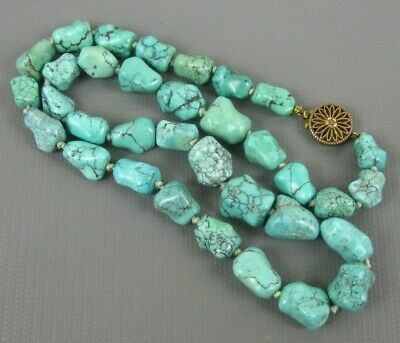 Antique Chinese Export Natural Spider Webbed Gem Nugget Turquoise Necklace