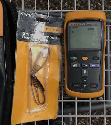 FLUKE 52 II Thermo Thermometer with Probe and Case