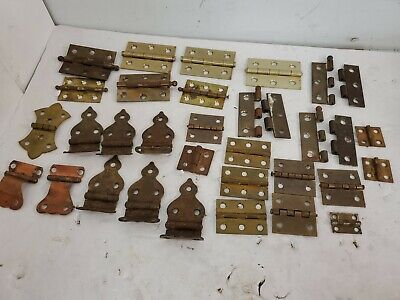 Lot of 25+ Vintage Antique Hinges Brass, Iron, Steel