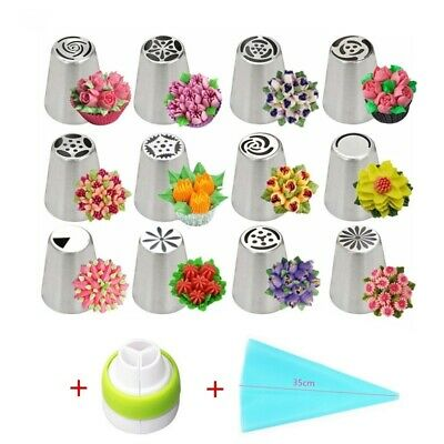 14pc/Set Russian Tulip Icing Piping Nozzles Stainless Steel Flower Cream Pastry