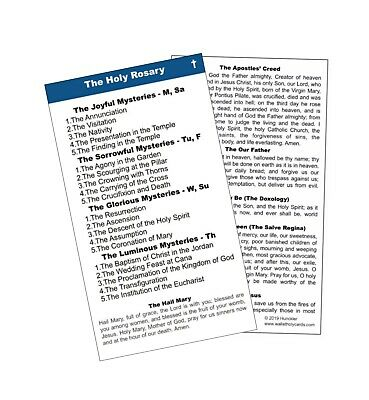 Rosary Holy Card - Wallet Size - 10 card pack