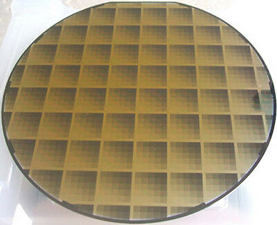 """Beautiful 8"""" silicon IC microchip pattern wafer vintage"""