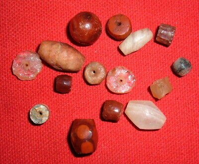 (15) Choice Colorful Sahara Neolithic Stone Beads, Prehistoric African Artifacts