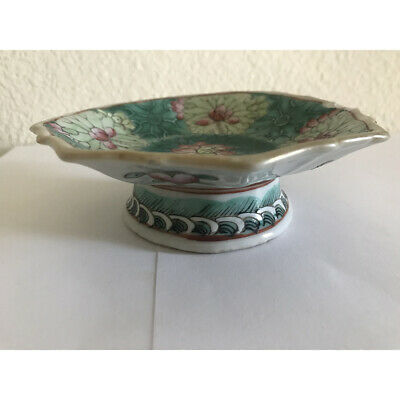 Antique Chinese Qing Tongzhi Porcelain Tazza Footed Bowl