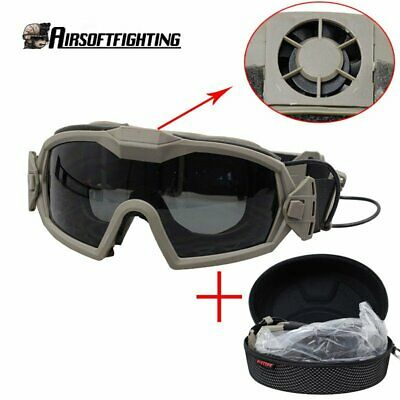 Tactical Military Airsoft Anti-fog Dust Regulator Safety Goggles Glasses w/ Fan