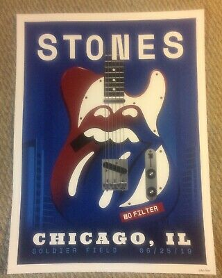 Rolling Stones Chicago Night 2 Litho Poster #231/500 6/25/19 Soldier Field Rare