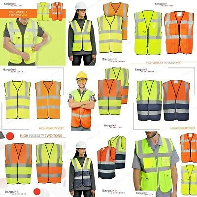 High Visibility Workers Construction Safety Vest Yellow Orange Reflective Hi Vis