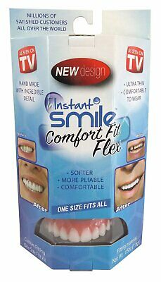 Instant Smile Comfort Fit Flex Teeth w Fitting Material & Case, White, One Size