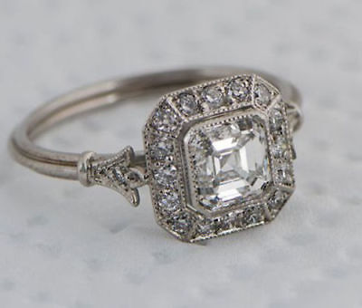 1.00Ct Asscher Cut White Diamond Art Deco Engagement Ring In 14K White Gold Over