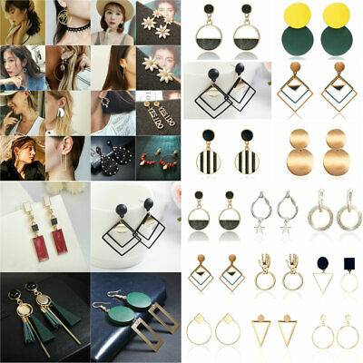 Women Lady Fashion Statement Metal Geometric Boho Dangle Earrings Modern Jewelry