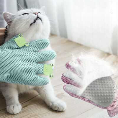 Dog Cat Grooming Glove Double Side Pet Hair Remover Mitten Bath Massage Brush