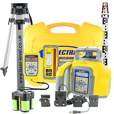 Spectra GL422N TRUE GRADE Laser Level with HL760U Detector, RC, Tripod & Staff