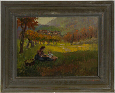 Framed Mid 20th Century Oil - Picnic in an Orchard