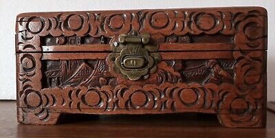 Vintage? Relief Carved Wooden Box On Feet With Brass Closer