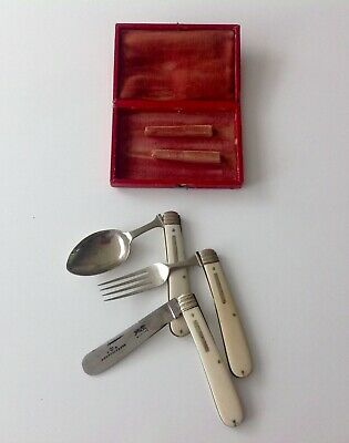 Sheffield Antique English Silver plated Traveling Folding Cutlery Set 3 /ps