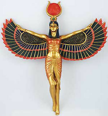 Isis Open Winged Wall Hanging Egypt Egyptian Goddess Gold Sun Disk Mother Healer