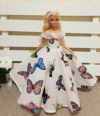 New multicolored printed butterfly princess doll dress for your Barbie Au made