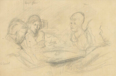 Frank Griffith (1889 -1979) Graphite Drawing, Friends at the Table