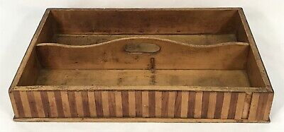 Antique Marquetry Inlaid Wood Knife Cutlery Utensils Box Tray
