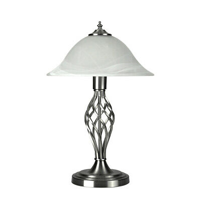 Vintage Traditional Barley Twist Table  Desk Lamp Light with Glass Shade