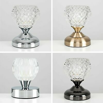 Chrome / Antique Brass Glass Lampshade Touch Dimmer Table Lamps Crystal Design