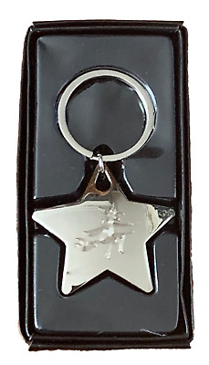 Personalised Chunky High Polished Chrome Witch Star Keyring ENGRAVED FREE