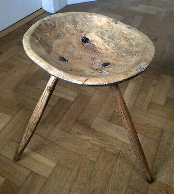 Antique French Rustic Unusual Dairy Stand Table Stool Country Dough Bowl Wooden