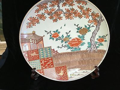 """Antique Japanese Meiji porcelain Imari charger 15"""" perfect hand painted 19thC"""