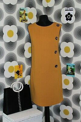 VINTAGE 1960s RETRO MOD STYLE BIG BUTTON SHIFT DRESS SIZE 10 UK