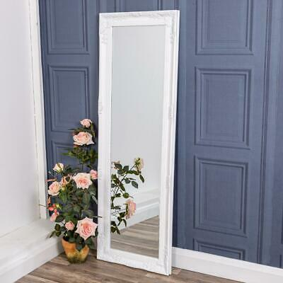 White Tall Ornate Wall Mirror Slim Shabby French Chic Full Length Bedroom Home
